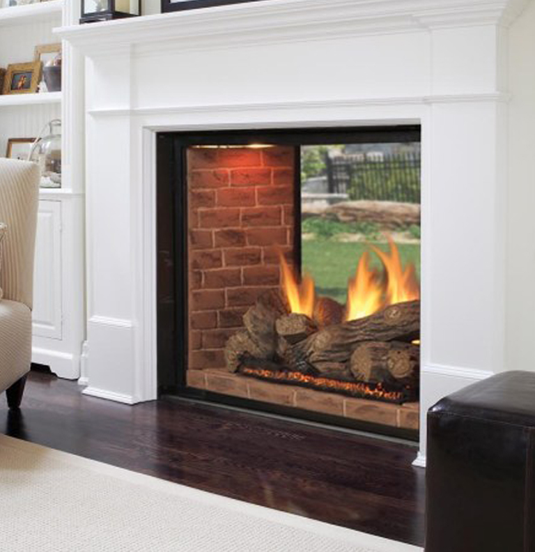 Gallery category indoor classic fireplaces image for 2 way fireplace